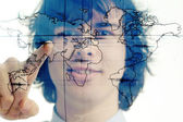 молодой предприниматель с карты мира — Стоковое фото