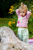 Cute baby-girl outdoors — Stock Photo