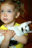 Dívka a kočka — Stock fotografie