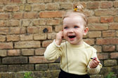 Baby with headphone — Stock Photo