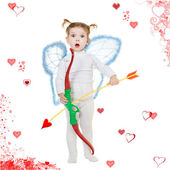 Cupid and hearts — Stock Photo