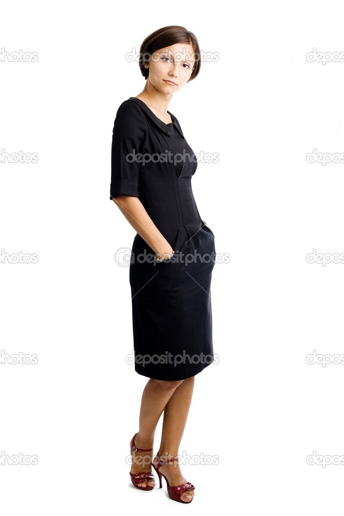 An image of a portrait of a woman in black dress — Stock Photo #8661954