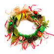 Christmas wreath on white background - Stock Photo