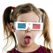 A girl with 3-D glasses — Stock Photo