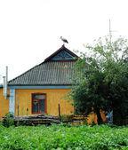 Casa y cigüeña — Foto de Stock
