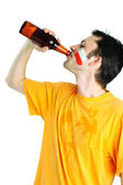 Fan with beer — Stock Photo