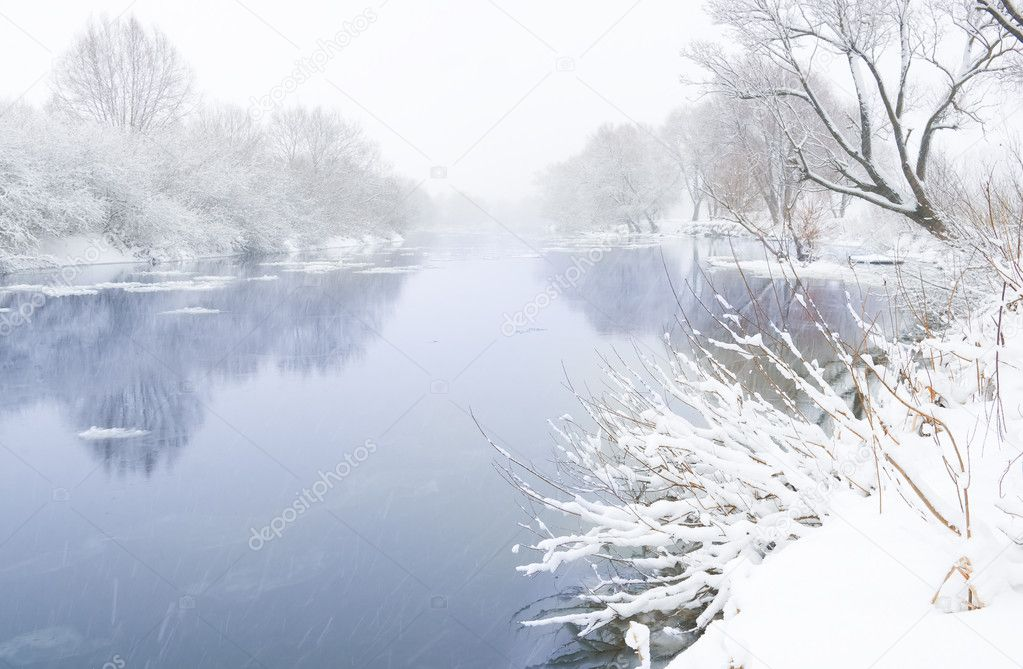 Winter river and trees in winter season — Stock Photo #10571897