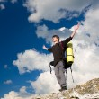 Man on top of mountain. — Stock Photo