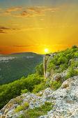 Mountain landscape on sunset. — Stock Photo