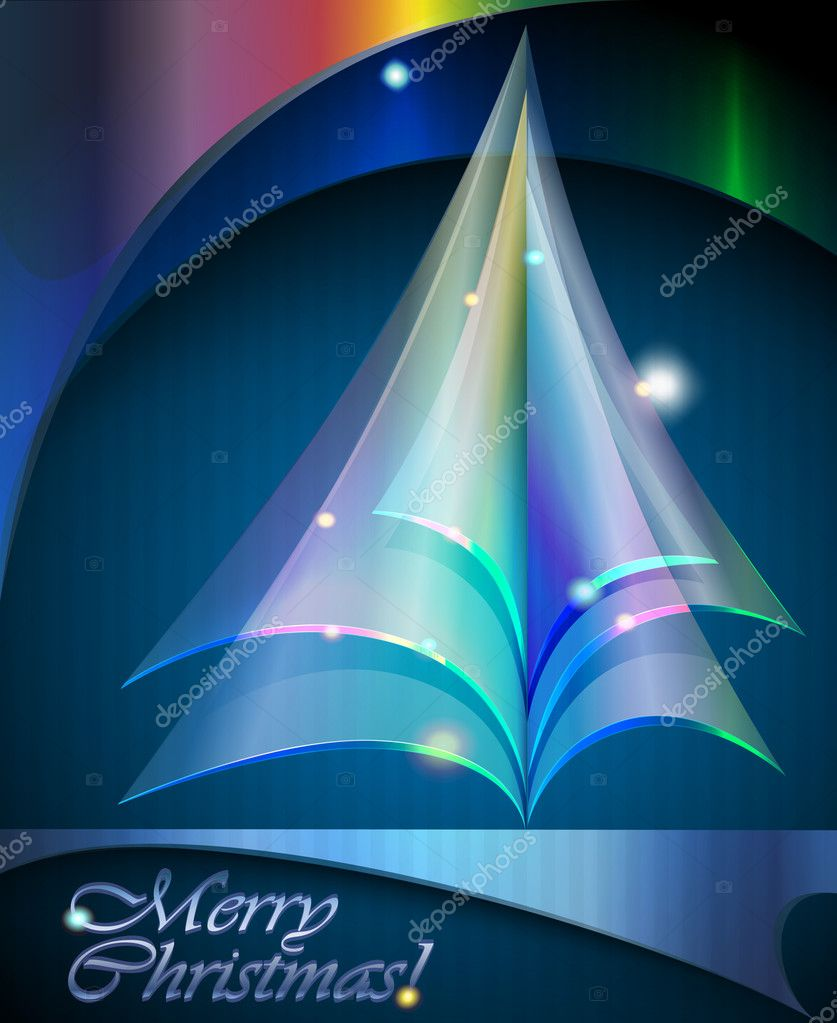 Christmas background. Transparent Christmas tree. Vector illustration.  Stock Vector #8097235
