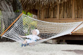 Adorable toddler in a hammock — Stock Photo