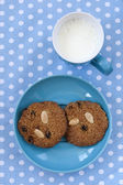 Oatmeal cookies with cup of milk — Stock Photo