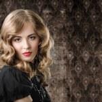 Vintage style portrait on retro background. — Stock Photo