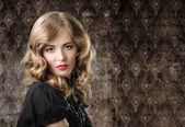 Vintage style portrait on retro background. — Stock Photo
