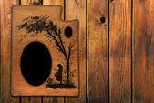 Vintage-molduras para fotos na parede de madeira — Foto Stock