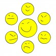 Stock Vector: Yellow Asismiles