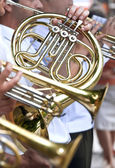 French horn and trumpets — Stock Photo