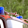 Fire engine blue flashing light - Stock Photo