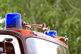 Fire engine blue flashing light — Stok fotoğraf