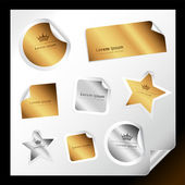 Exclusive gold and silver stickers — Stock Vector