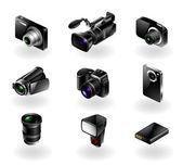 Conjunto de ícones de eletrônica - câmeras e filmadoras — Vetorial Stock
