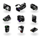 Elektronica pictogrammenset - camera's en camcorders — Stockvector