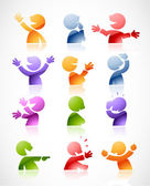 Colorful talking characters — Stockvector