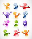 Färgglada talande tecken — Stockvektor