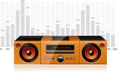 Orange boombox with signal spectrum, vector — Stock Vector