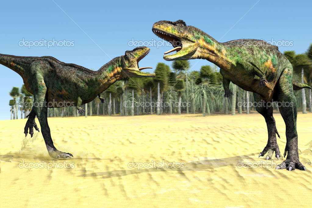 Scene two dinosaurs Executed in 3D — Stock Photo #10435551