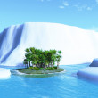 Palm tree and iceberg — Stock Photo