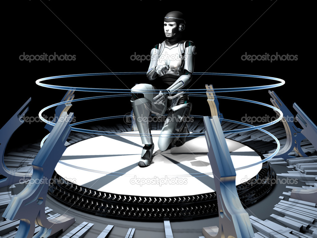 The abstract image of the girl of a cyborg — Stockfoto #8424241
