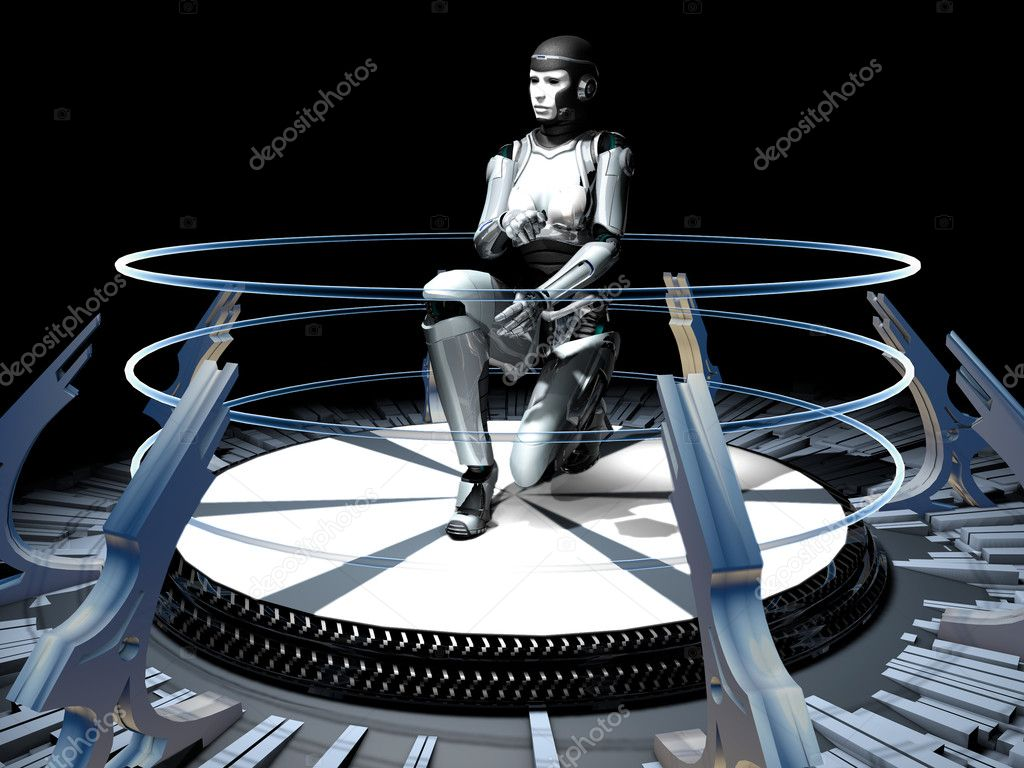 The abstract image of the girl of a cyborg — Foto de Stock   #8424241