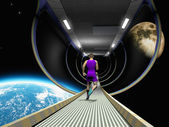 Run in space — Stock Photo