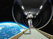 Cyborg in space — Stock Photo