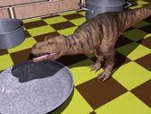 Dinosaur on a kitchen table — Stock Photo