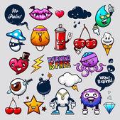 Graffiti bizarre characters — Stock Vector