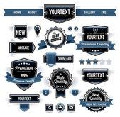 Jogo do vetor de etiquetas retros, botões e ícones. — Vetorial Stock