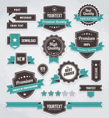 Vektor-set von retro-etiketten, schaltflächen und symbole. — Stockvektor
