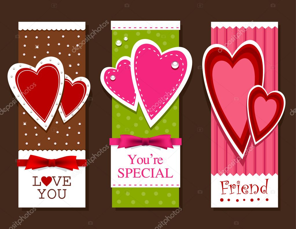 Valentines day postcards. Layered. Vector EPS 10 illustration. — Imagens vectoriais em stock #8505738