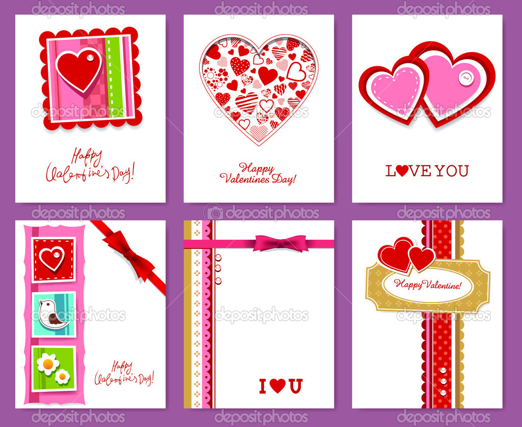 Vector set of valentine's day cards.  Imagens vectoriais em stock #8505745