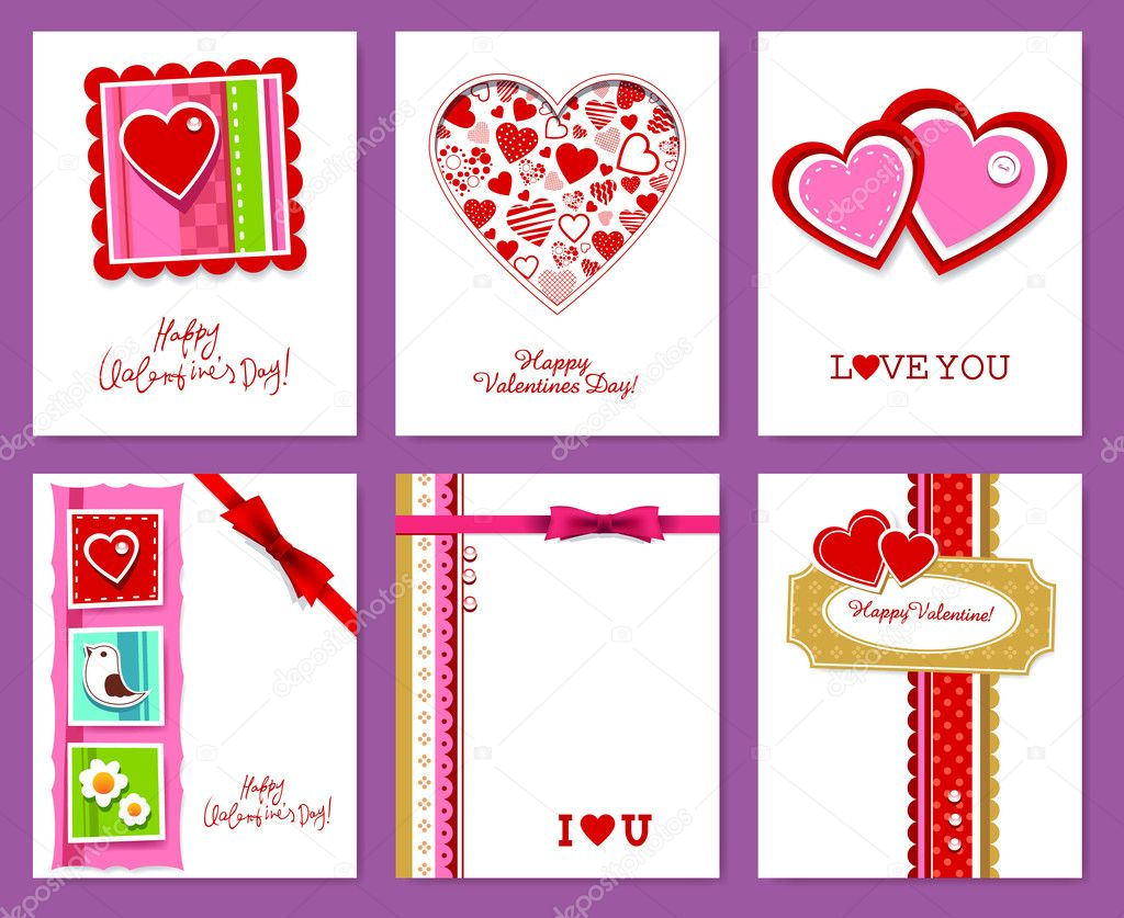 Vector set of valentine's day cards. — ベクター素材ストック #8505745