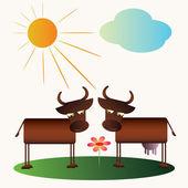 Cartoon cow and bull — Stock Vector