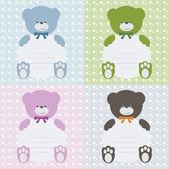 Inbjudningskort med björnar — Stockvektor