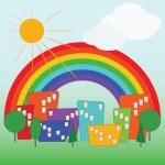 Colorful cartoon city — Stock Vector #9587508