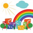 Colorful city with sun and rainbow — Stock Vector