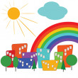 Colorful city with sun and rainbow — Stock Vector #9706081
