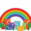 Cartoon colorful city and rainbow vector — Stock Vector