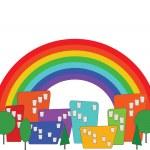 Cartoon colorful city and rainbow vector — Stock Vector #9746833