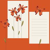 Karta z kwiatów i pusty arkusz — Wektor stockowy